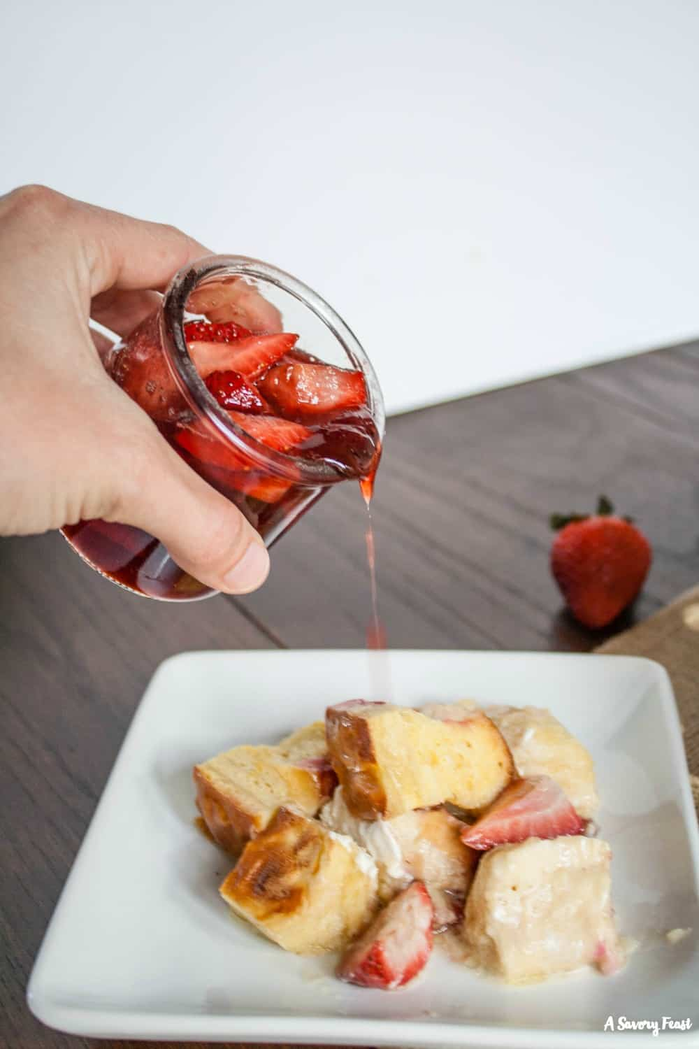 Strawberry Overnight French Toast and a simple 2-ingredient strawberry syrup.
