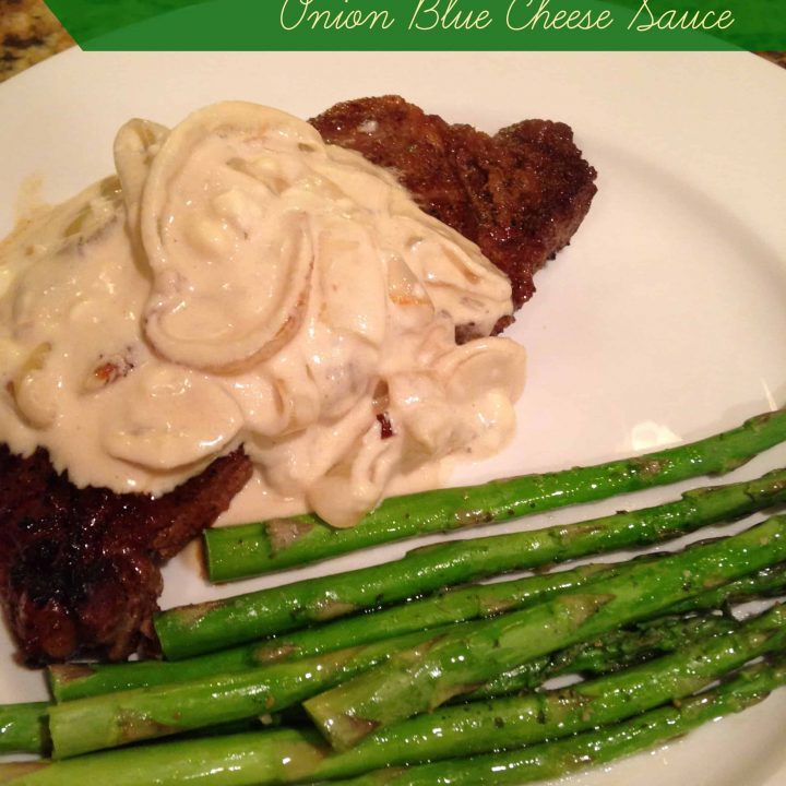 Steak with Onion Blue Cheese Sauce