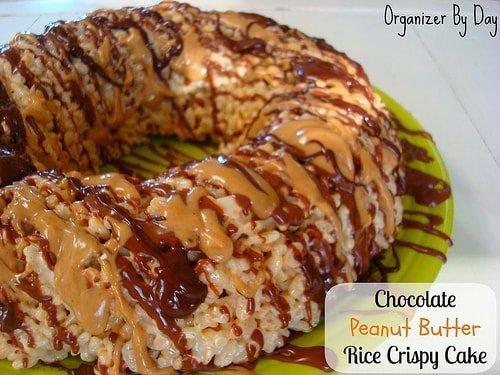 Chocolate peanut butter rice crispy cake