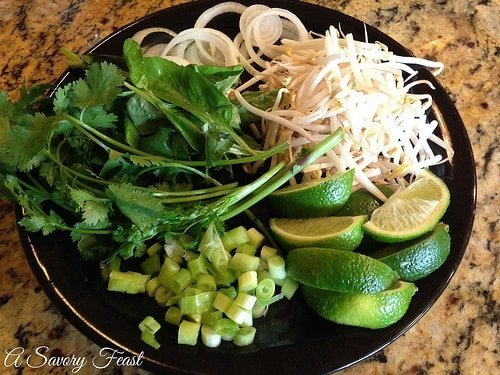 Vietnamese Rice Noodle Soup Garnish Plate