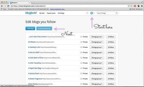 Creating Groups in Bloglovin