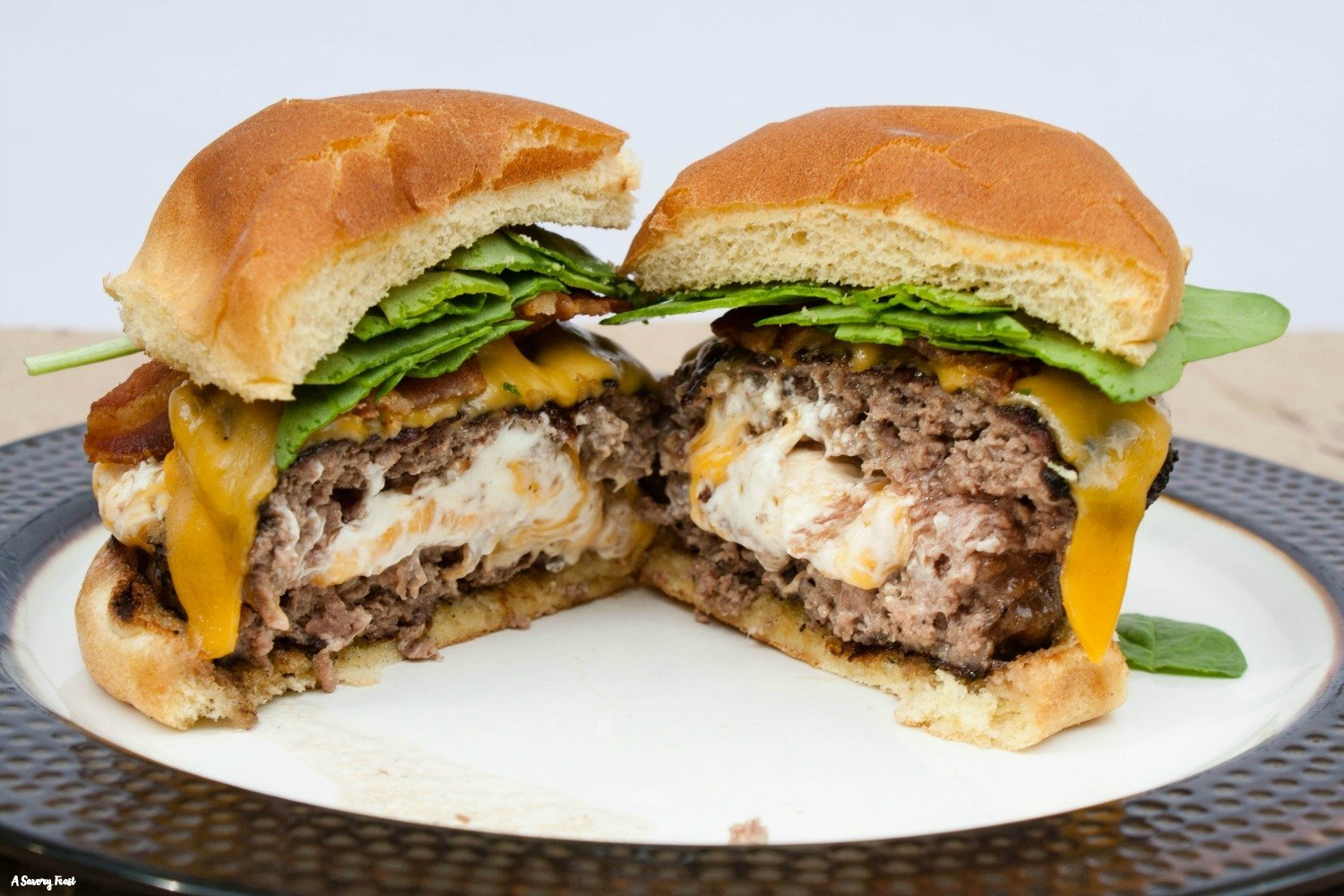 How to make cream cheese stuffed burgers.