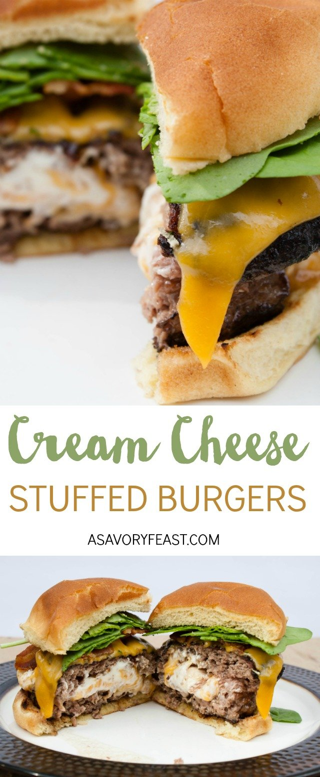 This is the ULTIMATE burger recipe! A two huge patties stuffed with a mixture of cream cheese, cheddar cheese and bacon. I bet your mouth is watering just thinking about it! Grill out this weekend and make these epic burgers.