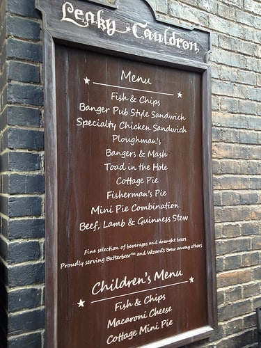 Leaky Cauldron Menu