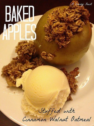 Baked Apples Stuffed with Cinnamon Walnut Oatmeal