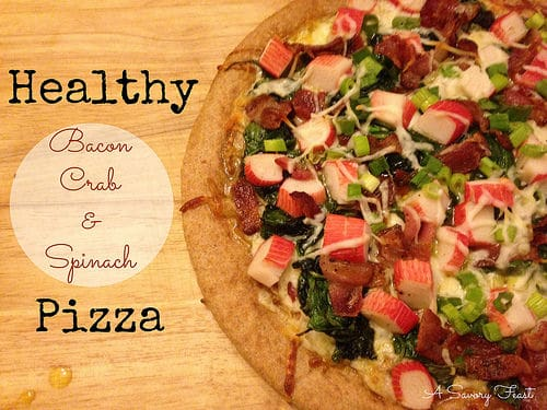 Healthy Bacon, Crab and Spinach Pizza