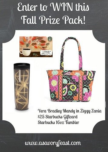 Fall Giveaway! Win a Vera Bradley tote, $25 Starbucks gift card and a tumbler. September 21-27.