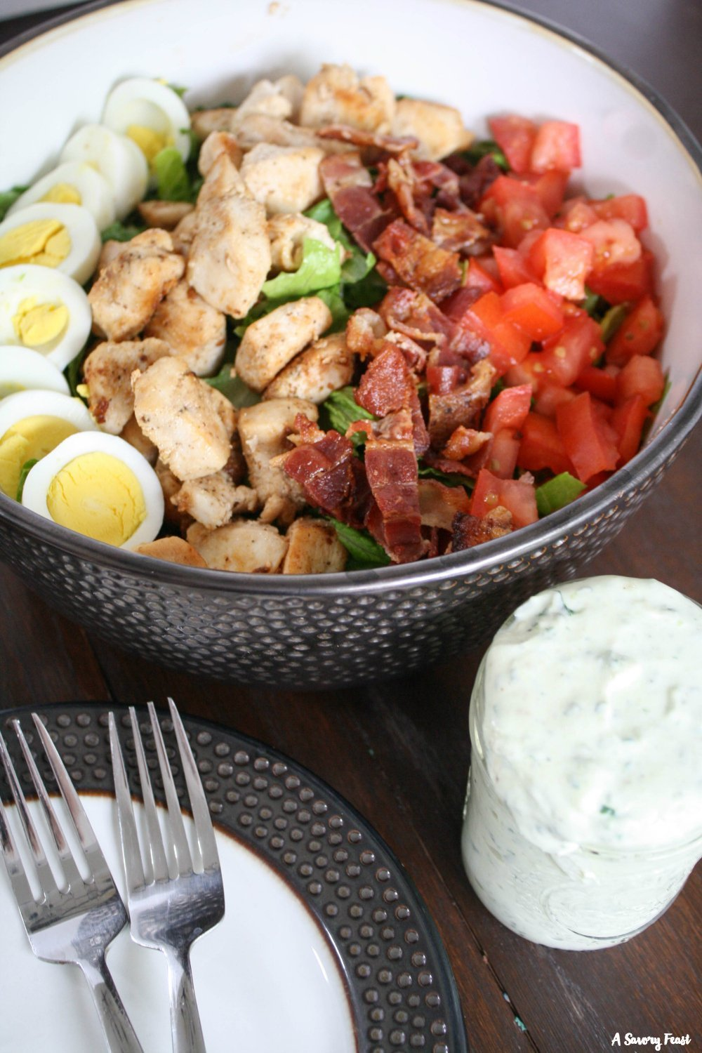 Chicken Cobb Salad with Homemade Avocado Dressing recipe