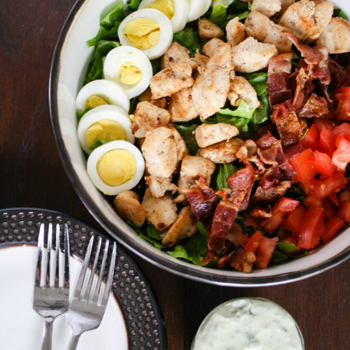 Chicken Cobb Salad with Homemade Avocado Dressing