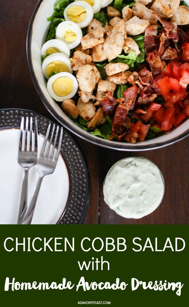 Make it a salad-for-dinner night with this filling and flavorful Chicken Cobb Salad with Homemade Avocado Dressing! A bed of romaine lettuce topped with chicken, bacon, hard boiled eggs, tomatoes and a homemade avocado dressing.