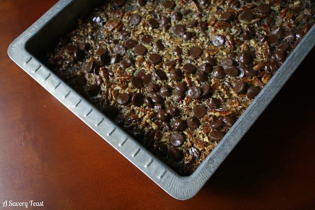 Bourbon Chocolate Pecan Pie Bars Recipe from Homemade Decadence