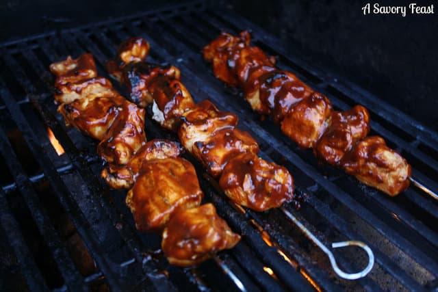 Bourbon Bacon BBQ Chicken Kebobs
