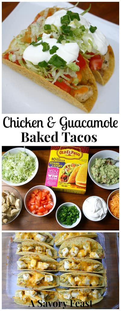 Chicken and Guacamole Baked Tacos