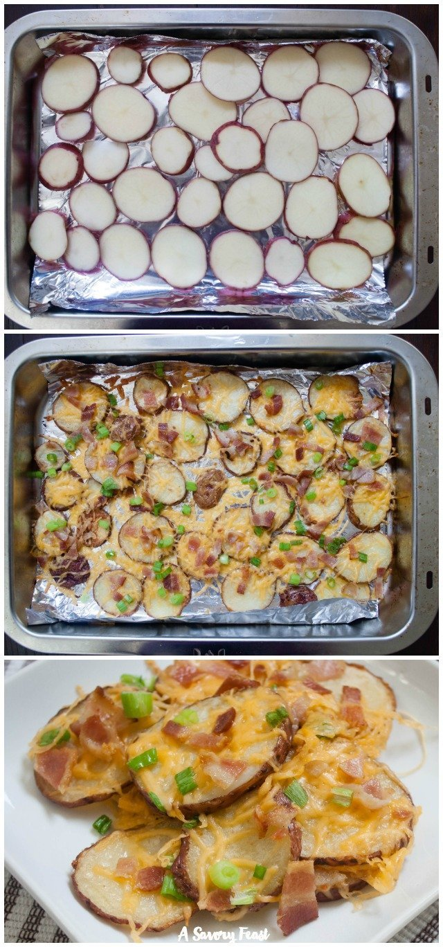 Step-by-step instructions for making these easyBaked Potato Nachos can be found at A Savory Feast!