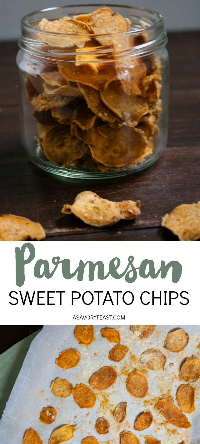 One bite and you will be hooked on this healthy, homemade snack! Parmesan Sweet Potato Chips are baked instead of fried and seasoned with parmesan cheese, sea salt and spices. When you are craving a salty snack, reach for this healthier option!