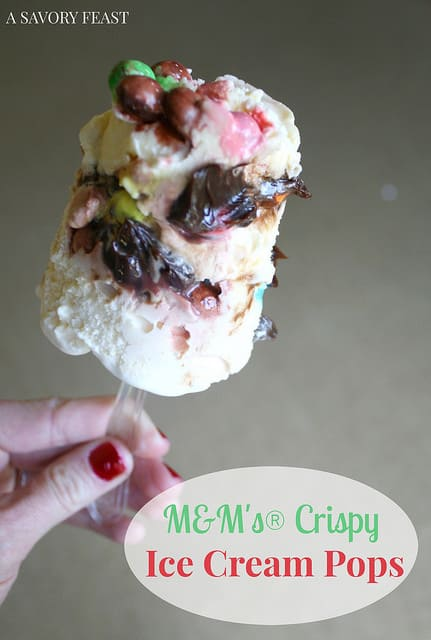 M&M's Crispy Ice Cream Pops