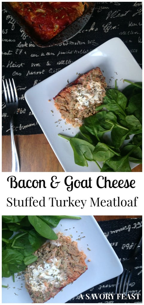 Bacon and Goat Cheese Stuffed Turkey Meatloaf