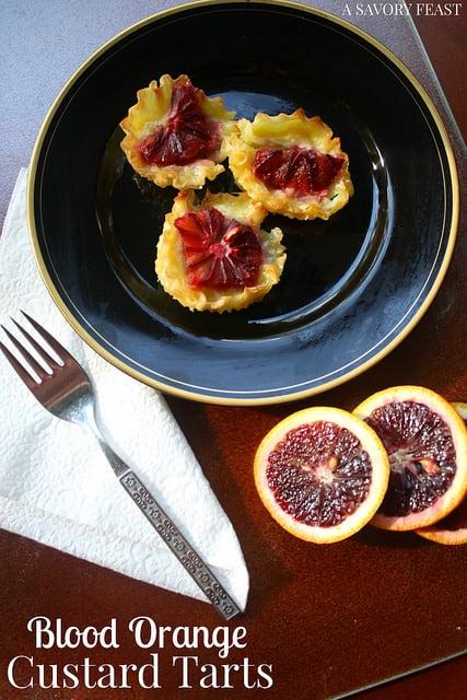 Blood Orange Custard Tarts