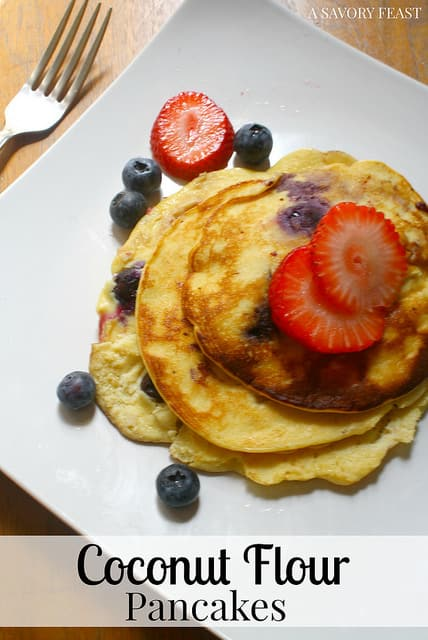 These tasty Coconut Flour Pancakes are a wonderful way to start your day! Gluten free and made with nutritious ingredients, they are guilt free, too!