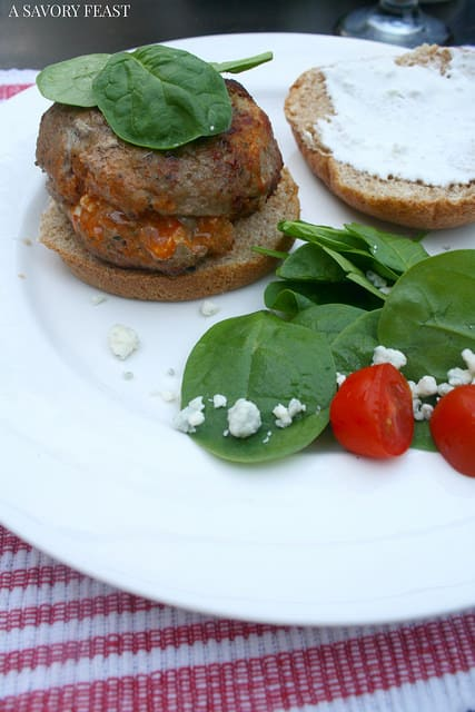 Buffalo & Blue Cheese Stuffed Turkey Burgers