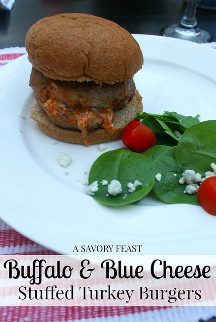 Buffalo and Blue Cheese Stuffed Turkey Burgers
