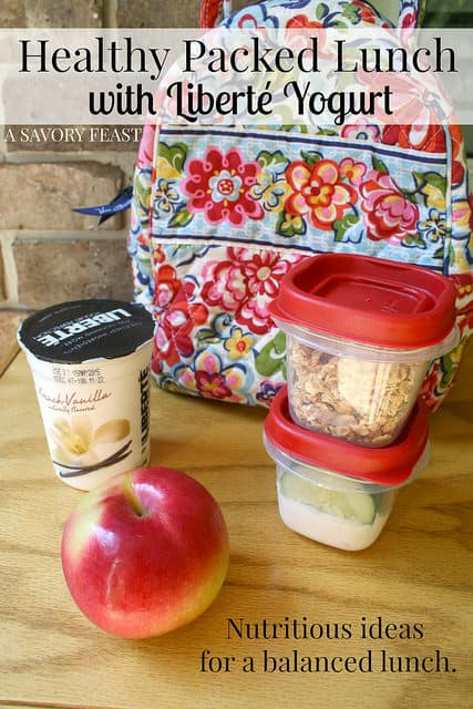 Healthy Packed Lunch with Liberté Yogurt. Create a balanced lunch with these ideas!