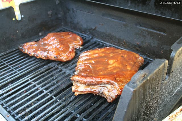 Honey Bourbon BBQ Ribs on the Grill