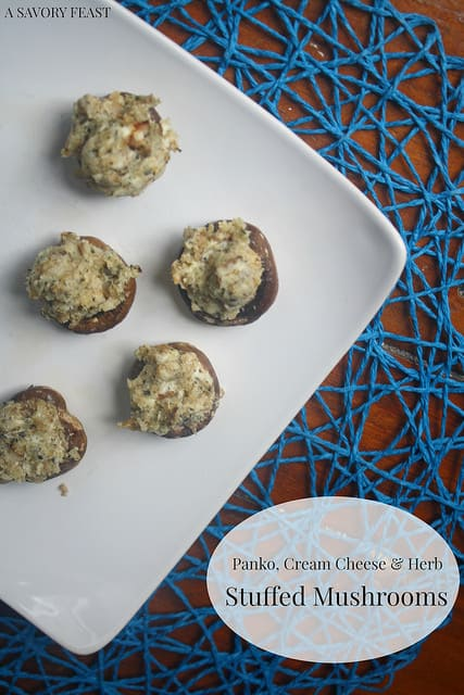 Panko, Cream Cheese and Herb Stuffed Mushrooms
