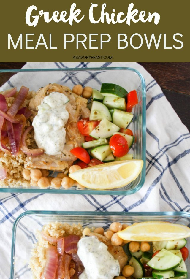 Meal prep chicken doesn't have to be boring! This recipe for Greek Chicken Meal Prep Bowls is loaded with flavors and sure to fill you up at lunch time. A base of quinoa topped with greek chicken, cucumber and tomato salad, homemade tzatziki and more.
