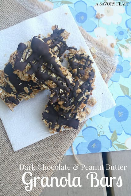 Dark Chocolate and Peanut Butter Granola Bars