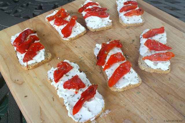 Roasted Red Bell Pepper with Goat Cheese Crostini