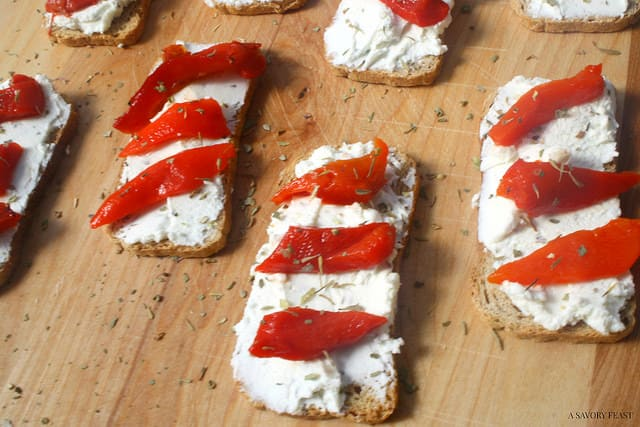 Roasted Red Bell Pepper and Goat Cheese Crostini Recipe