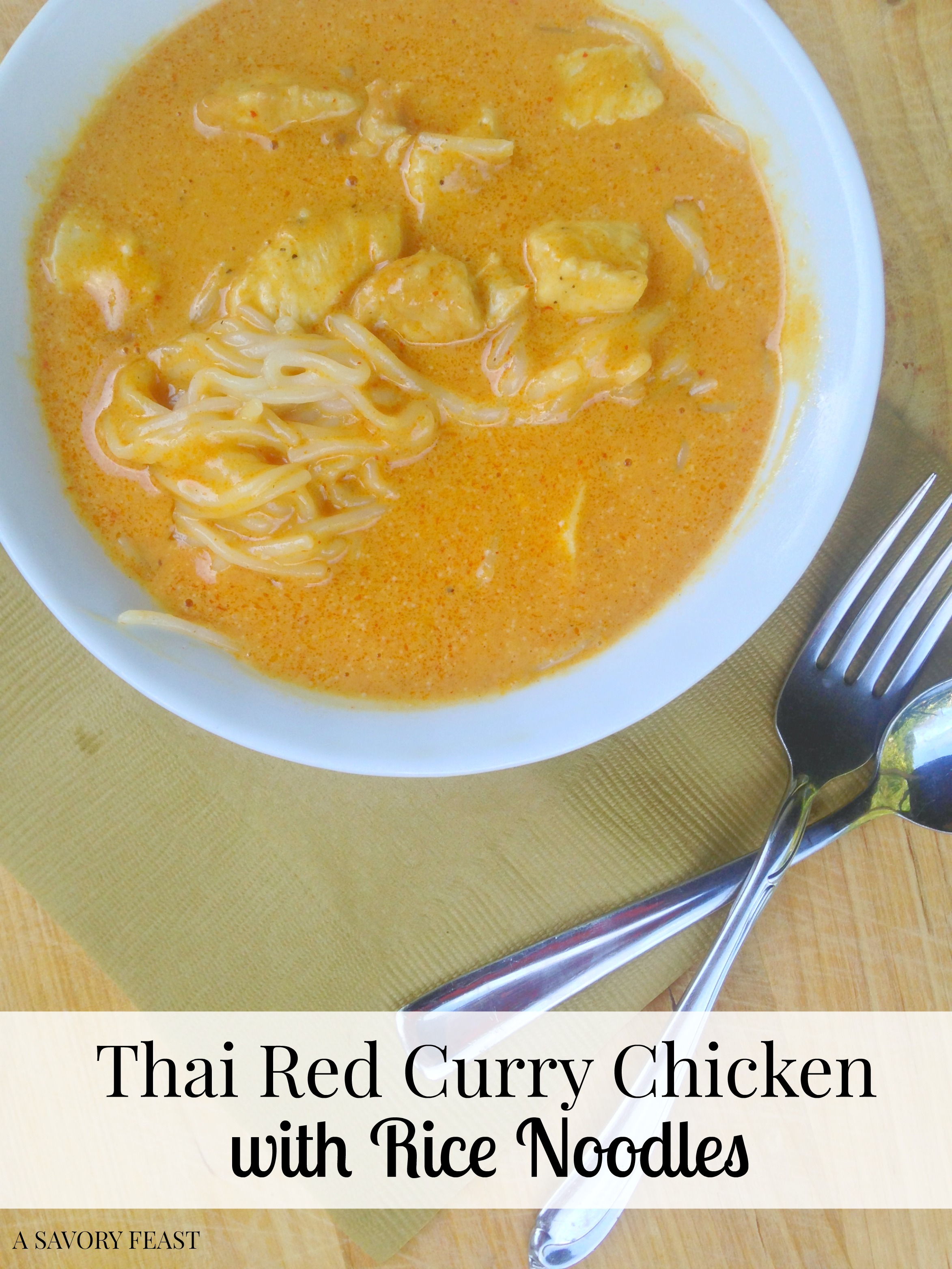Easy recipe using 4 ingredients you can buy at Trader Joe's! Thai Red Curry Chicken with Rice Noodles