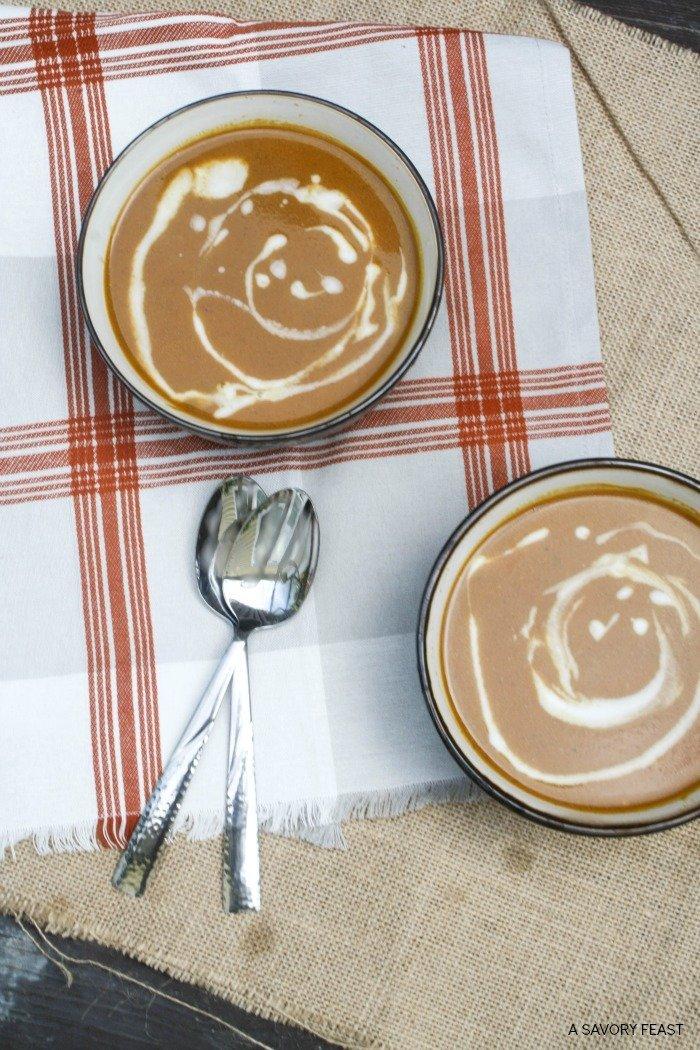 Creamy Pumpkin Soup with Maple Cream