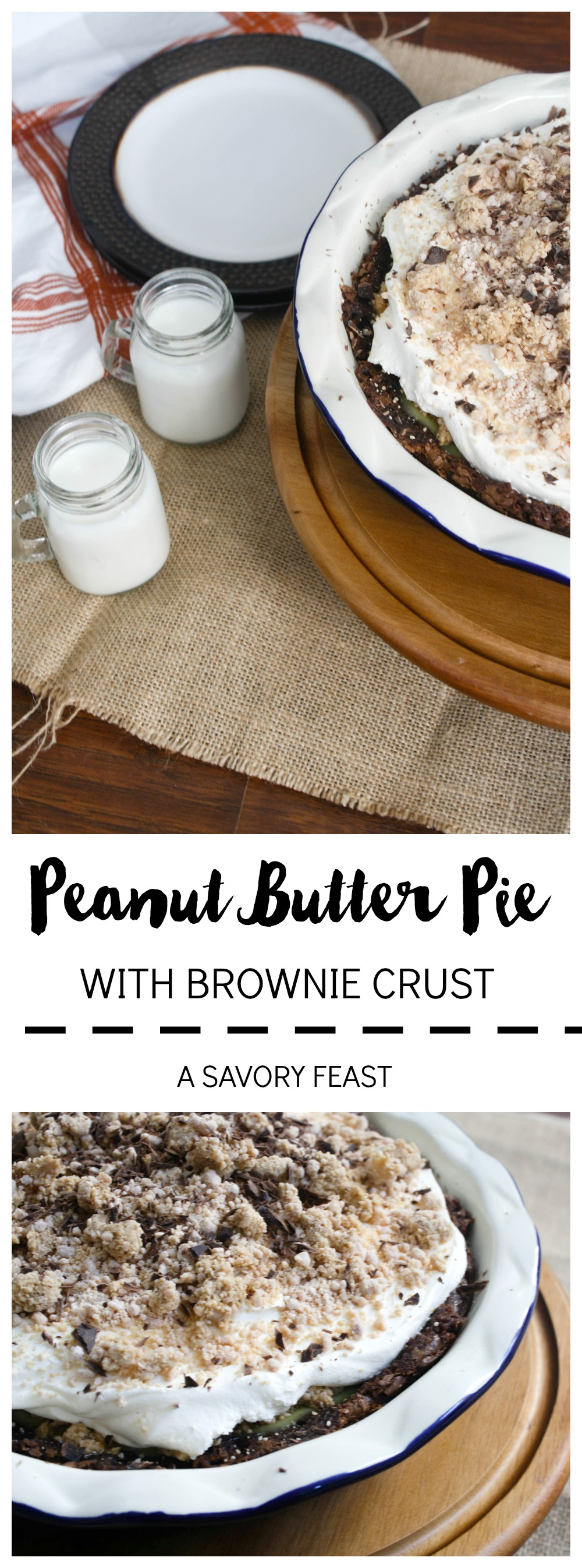 Peanut Butter Pie with Brownie Crust // Get ready for holiday baking with this revamped classic!