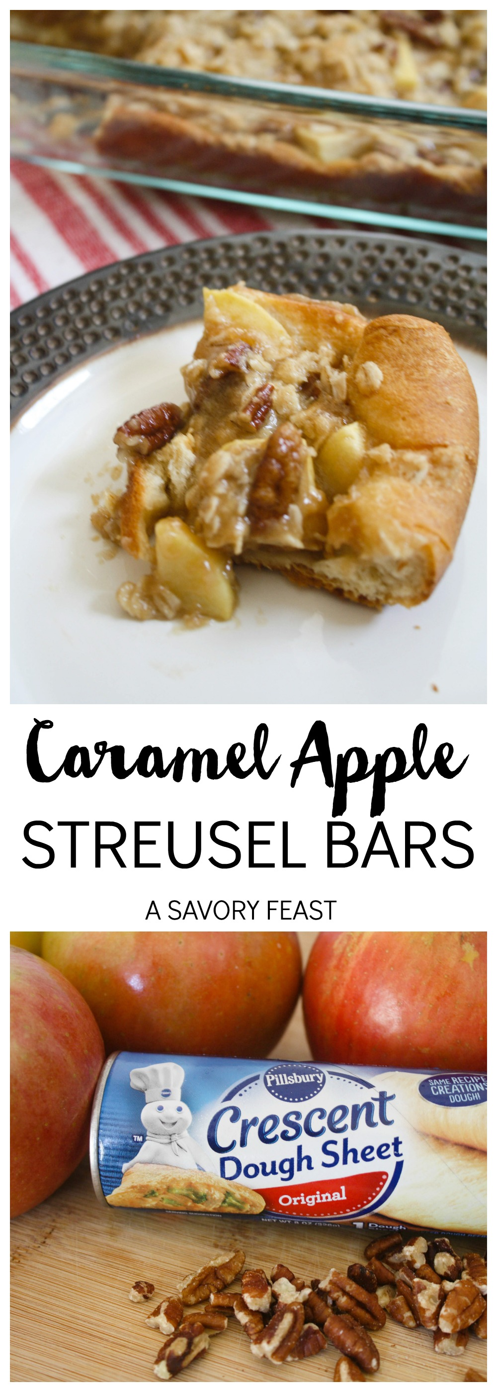 Caramel Apple Bars Collage