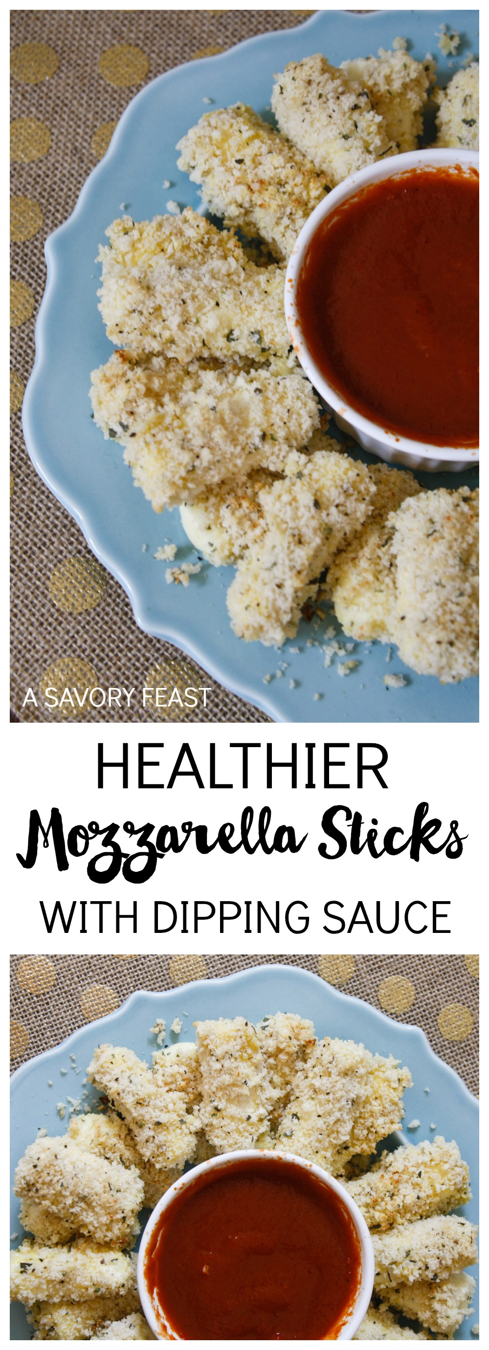 Serve these Healthier Mozzarella Sticks at your holiday party! The perfect appetizer for any occasion.