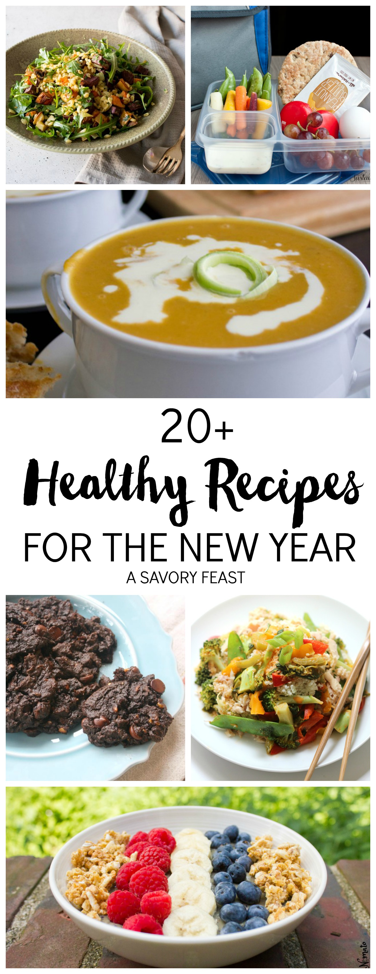 20+ Healthy Recipes for the New Year // Ideas for breakfast, lunch, snacks, dinners and desserts to get you back on track.