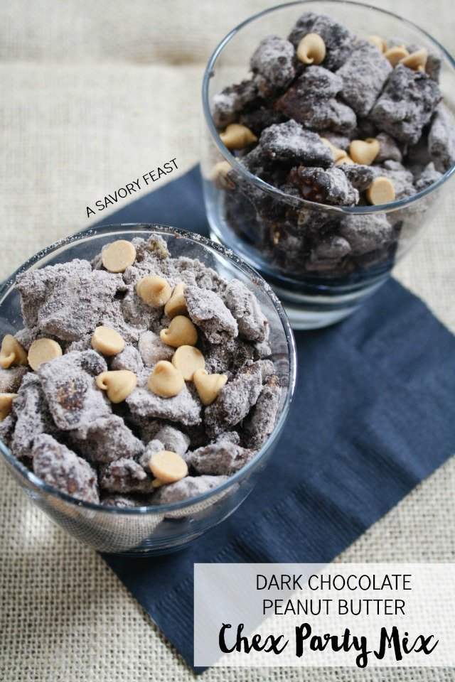 Dark Chocolate Peanut Butter Chex Party Mix // This easy treat is perfect for parties or just because.
