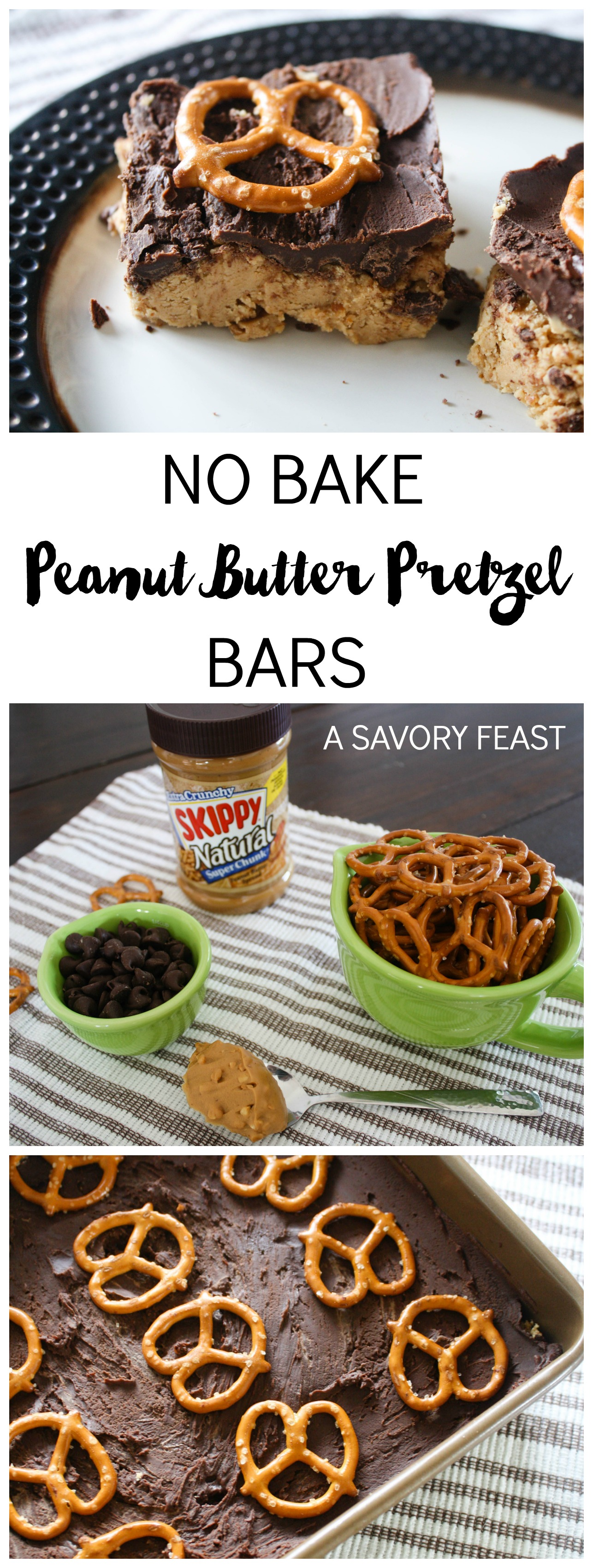 No Bake Peanut Butter Pretzel Bars // An easy treat that combines salty and sweet into one yummy bar!