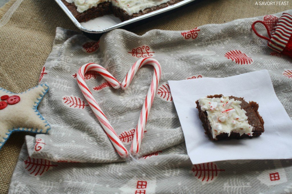 Peppermint Cream Cheese Frosted Brownies // Dress up a classic brownie mix with this fun holiday topping.