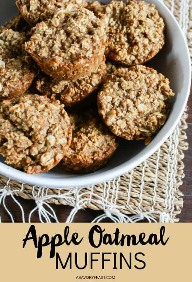 Start your day with these healthy and hearty Apple Oat Muffins. So easy to make and so good! Made with oats instead of flour and sweetened with applesauce and agave nectar. Toddler approved!