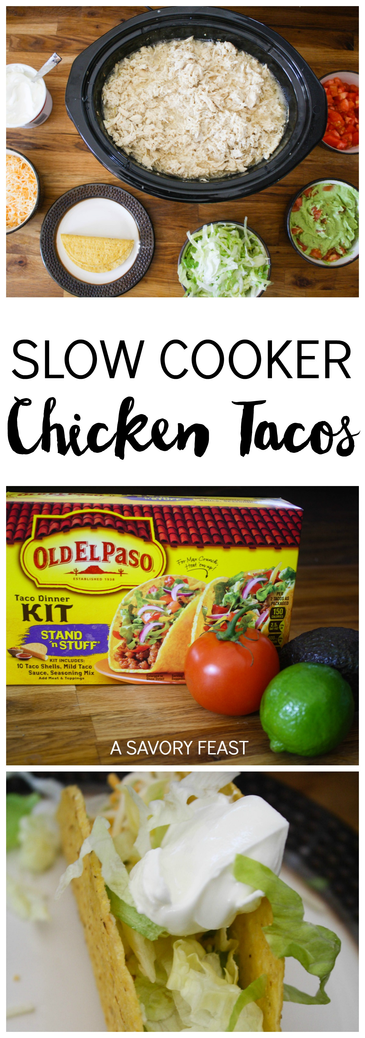 Slow Cooker Chicken Tacos // This is the perfect recipe to feed a crowd!