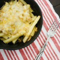Skillet White Chicken Chili Cheese Fries