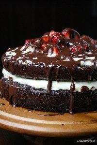 Strawberry Chocolate Ganache Layer Cake