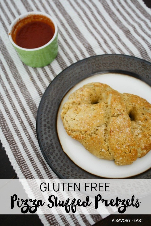 Gluten Free Pizza Stuffed Pretzels are fun to make with kids. A yummy snack idea!