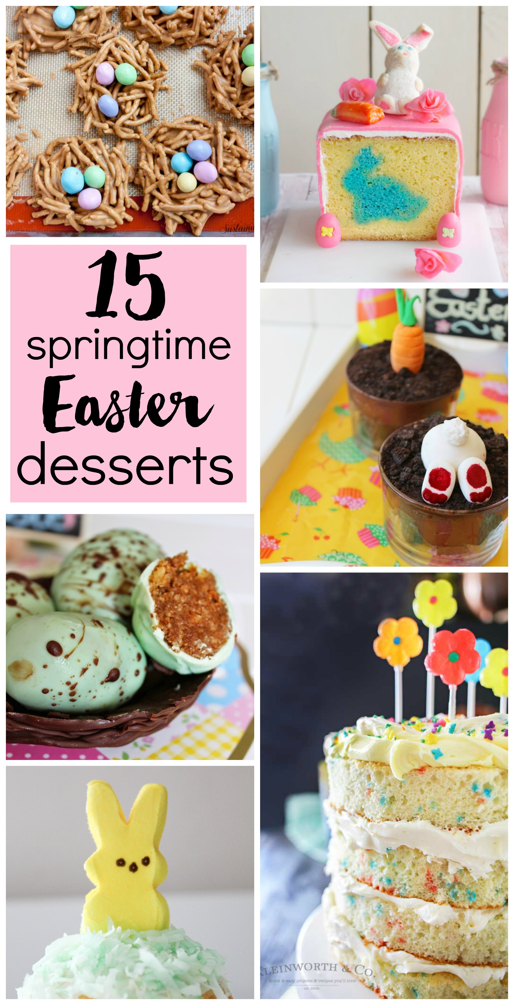 15 Springtime Easter Desserts // Easter is almost here! Get a cute springtime dessert idea for your get together, whether you want an easy cookie recipe or an elaborate cake.