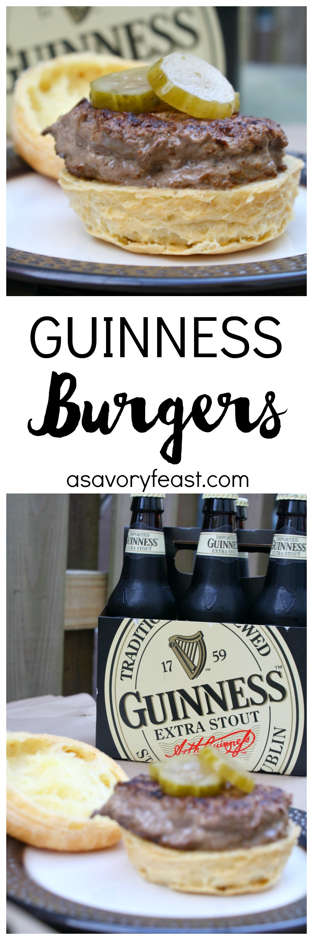 These flavorful and hearty Guinness Burgers are perfect for St. Patrick's Day! Start by marinating the beef in Guinness. Then fire up the grill and get ready to enjoy this delicious dinner!