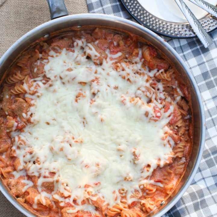 Creamy Ricotta, Tomato & Sausage Pasta Skillet