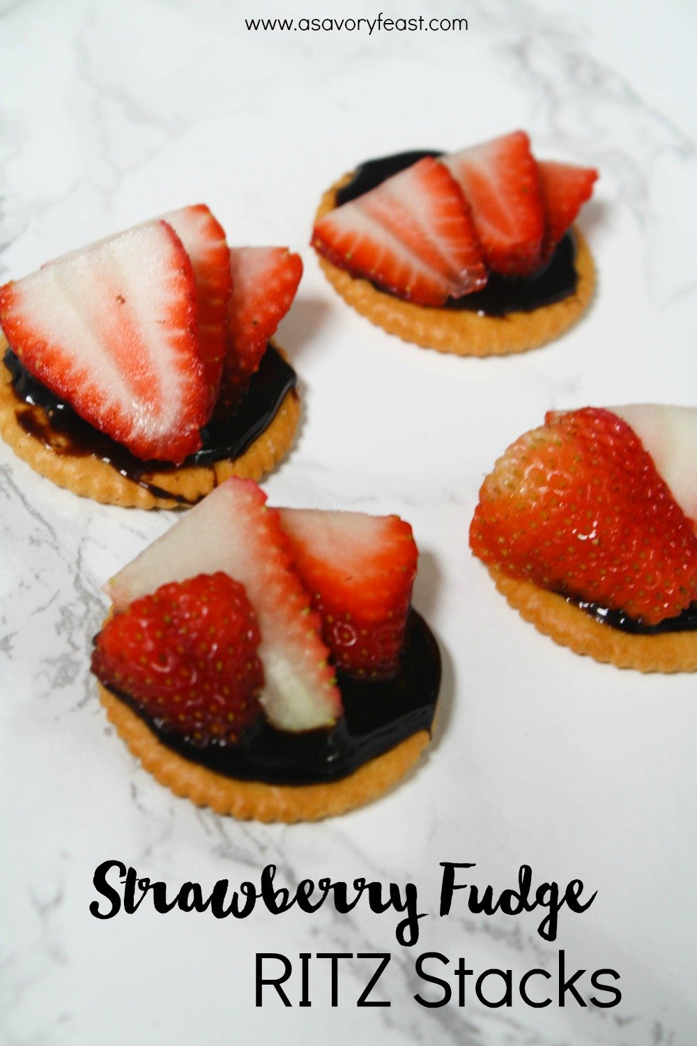 Strawberry Fudge RITZ Stacks are a fun and easy snack idea!